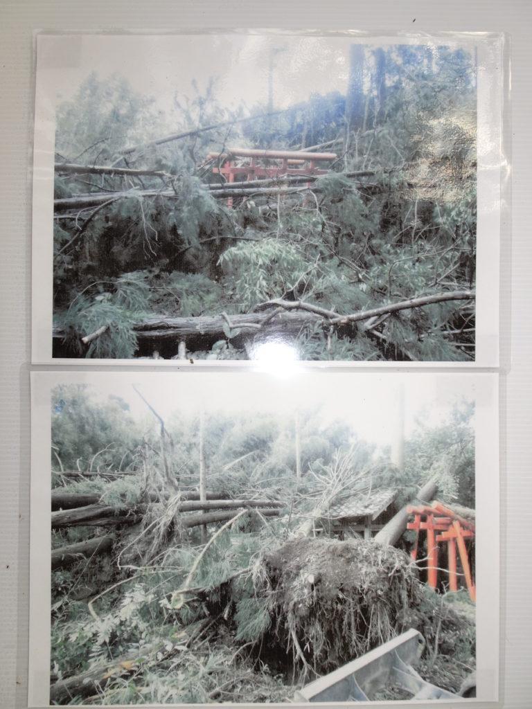 走田神社台風被害