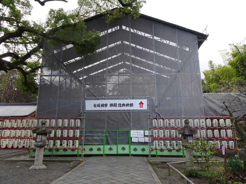 平野神社拝殿改修中